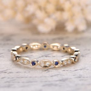Sapphire Wedding Band Eternity Band Bezel Engagement Ring Sapphire Bezel Set Ring Milgrain Band Art Deco Wedding Ring Marquise & Dot Ring | Natural genuine Gemstone rings, simple unique alternative gemstone engagement rings. #rings #jewelry #bridal #wedding #jewelryaccessories #engagementrings #weddingideas #affiliate #ad