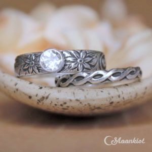 Shop Sapphire Rings! Celtic Engagement Ring Set, Sterling Silver Celtic Wedding Ring Set, Floral Wedding Band Set | Moonkist Designs | Natural genuine Sapphire rings, simple unique alternative gemstone engagement rings. #rings #jewelry #bridal #wedding #jewelryaccessories #engagementrings #weddingideas #affiliate #ad