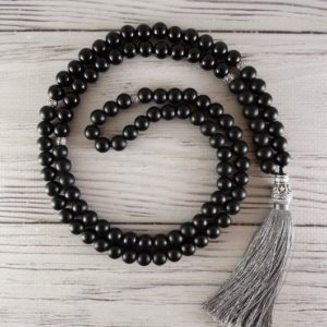 Shop Shungite Necklaces! Shungite mala 108 Meditation beads Black mala necklace Onyx mala beads Yoga mala Prayer beads Yoga gifts Buddhist necklace Shungite necklace | Natural genuine Shungite necklaces. Buy crystal jewelry, handmade handcrafted artisan jewelry for women.  Unique handmade gift ideas. #jewelry #beadednecklaces #beadedjewelry #gift #shopping #handmadejewelry #fashion #style #product #necklaces #affiliate #ad