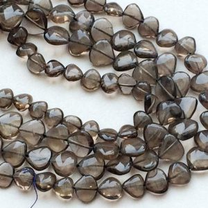 Shop Smoky Quartz Bead Shapes! 7-9mm Smoky Quartz Plain Heart Straight Drill, Smoky Quartz Briolettes, Smoky Quartz For Jewelry, 13 Inch Smoky Heart – RAMA190 | Natural genuine other-shape Smoky Quartz beads for beading and jewelry making.  #jewelry #beads #beadedjewelry #diyjewelry #jewelrymaking #beadstore #beading #affiliate #ad
