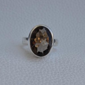 Shop Smoky Quartz Rings! Natural Smoky Quartz Ring-Handmade Silver Ring-925 Sterling Silver Ring-Oval Smoky Quartz Ring-Gift for her-Capricorn Birthstone | Natural genuine Smoky Quartz rings, simple unique handcrafted gemstone rings. #rings #jewelry #shopping #gift #handmade #fashion #style #affiliate #ad