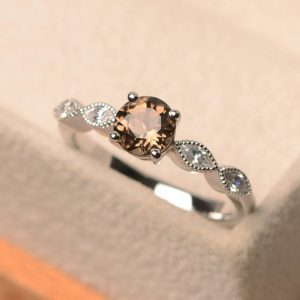 Shop Smoky Quartz Rings! Smoky Quartz Ring, Round Cut Gemstone Ring, Brown Gemstone Ring, Promising Ring For Woman | Natural genuine Smoky Quartz rings, simple unique handcrafted gemstone rings. #rings #jewelry #shopping #gift #handmade #fashion #style #affiliate #ad