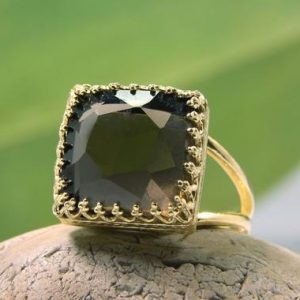 Shop Smoky Quartz Rings! Smoky quartz ring,square ring,gold ring,brown ring,bling ring,sparkling ring,stacking ring,cute ring,solid gold ring | Natural genuine Smoky Quartz rings, simple unique handcrafted gemstone rings. #rings #jewelry #shopping #gift #handmade #fashion #style #affiliate #ad