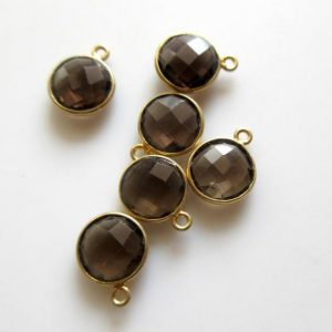 Shop Smoky Quartz Round Beads! 10 Pcs 10mm Natural Smoky Quartz Round 925 Silver Bezel Connector Charm, Single / double Loop Smoky Quartz Gemstone Connector Charm Gds1668 | Natural genuine round Smoky Quartz beads for beading and jewelry making.  #jewelry #beads #beadedjewelry #diyjewelry #jewelrymaking #beadstore #beading #affiliate #ad