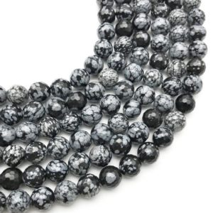 Shop Snowflake Obsidian Faceted Beads! 10mm Faceted Snowflake Obsidian Beads, Round Gemstone Beads, Wholesale Beads | Natural genuine faceted Snowflake Obsidian beads for beading and jewelry making.  #jewelry #beads #beadedjewelry #diyjewelry #jewelrymaking #beadstore #beading #affiliate #ad