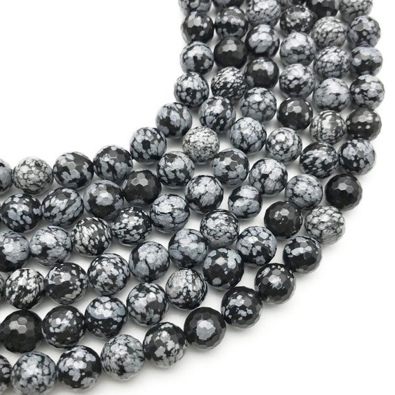 10mm Faceted Snowflake Obsidian Beads, Round Gemstone Beads, Wholesale Beads