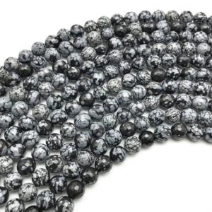 Shop Snowflake Obsidian Faceted Beads! 8mm Faceted Snowflake Obsidian Beads, Round Gemstone Beads, Wholesale Beads | Natural genuine faceted Snowflake Obsidian beads for beading and jewelry making.  #jewelry #beads #beadedjewelry #diyjewelry #jewelrymaking #beadstore #beading #affiliate #ad