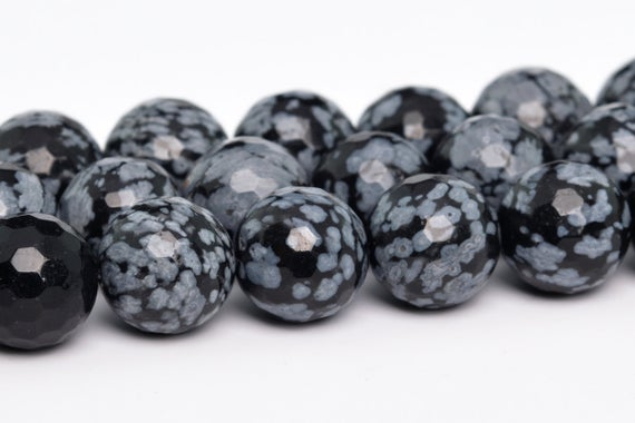Snowflake Obsidian Beads Grade Aaa Genuine Natural Gemstone Micro Faceted Round Loose Beads 8mm 10mm 12mm Bulk Lot Options