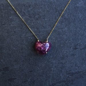 Shop Pink Tourmaline Necklaces! Solitaire Pink Tourmaline Heart Necklace | Natural genuine Pink Tourmaline necklaces. Buy crystal jewelry, handmade handcrafted artisan jewelry for women.  Unique handmade gift ideas. #jewelry #beadednecklaces #beadedjewelry #gift #shopping #handmadejewelry #fashion #style #product #necklaces #affiliate #ad