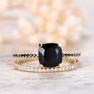 7mm Cushion Cut Black Spinel Ring Set,2pcs Solid 14K yellow gold engagement ring,South African diamond ring,Deco wedding promise ring Set | Natural genuine Gemstone rings, simple unique alternative gemstone engagement rings. #rings #jewelry #bridal #wedding #jewelryaccessories #engagementrings #weddingideas #affiliate #ad