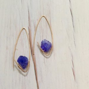Tanzanite Earrings Tanzanite Endless Hoop Natural Tanzanite Raw Gemstone Jewelry | Natural genuine Gemstone earrings. Buy crystal jewelry, handmade handcrafted artisan jewelry for women.  Unique handmade gift ideas. #jewelry #beadedearrings #beadedjewelry #gift #shopping #handmadejewelry #fashion #style #product #earrings #affiliate #ad