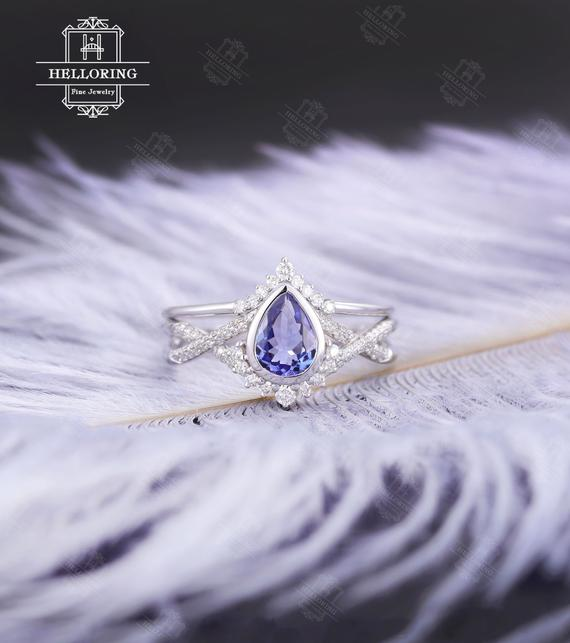 Tanzanite Engagement Ring Set White Gold , Vintage Wedding Ring, Pear Shaped,curved Diamond/ Moissanite Band,anniversary S For Her