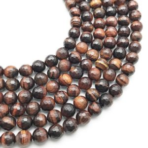 Shop Tiger Eye Faceted Beads! 10mm Faceted Red Tiger Eye Beads, Round Gemstone Beads, Wholesale Beads | Natural genuine faceted Tiger Eye beads for beading and jewelry making.  #jewelry #beads #beadedjewelry #diyjewelry #jewelrymaking #beadstore #beading #affiliate #ad