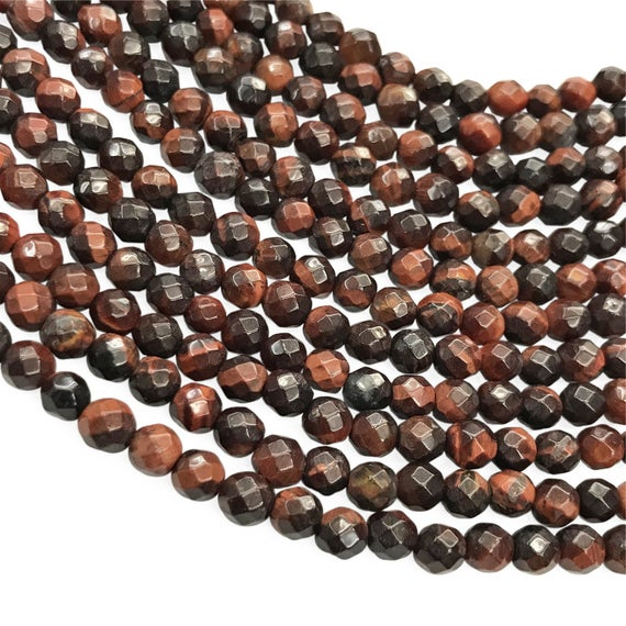 6mm Faceted Red Tiger Eye Beads, Round Gemstone Beads, Wholesale Beads