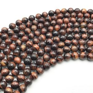 Shop Tiger Eye Faceted Beads! 8mm Faceted Red Tiger Eye Beads, Round Gemstone Beads, Wholesale Beads | Natural genuine faceted Tiger Eye beads for beading and jewelry making.  #jewelry #beads #beadedjewelry #diyjewelry #jewelrymaking #beadstore #beading #affiliate #ad