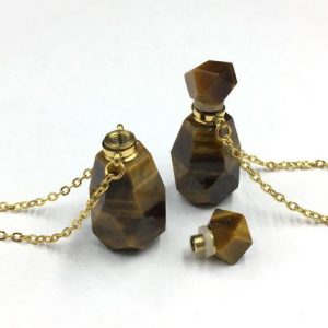 Shop Tiger Eye Faceted Beads! Faceted Tiger Eye Perfume Necklace Bottle Pendant Tiger Stone Gemstone Essential Oil Bottle Crystal Perfume Diffuser Scent Bottle Pendant | Natural genuine faceted Tiger Eye beads for beading and jewelry making.  #jewelry #beads #beadedjewelry #diyjewelry #jewelrymaking #beadstore #beading #affiliate #ad