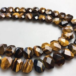 "Shop Tiger Eye Bead Shapes! Yellow Tiger Eye Rectangle Slice Faceted Octagon Beads Approx 10x14mm 15.5"" Strd 