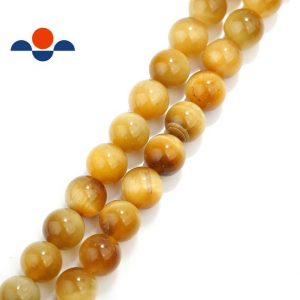 "Shop Tiger Eye Beads! 2.0mm Hole Golden Tiger Eye Smooth Round Beads 6mm 8mm 10mm 15.5"" Strand 