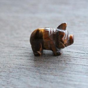 Shop Tiger Eye Shapes! Tiger Eye Stone Pig Figurine F237 | Natural genuine stones & crystals in various shapes & sizes. Buy raw cut, tumbled, or polished gemstones for making jewelry or crystal healing energy vibration raising reiki stones. #crystals #gemstones #crystalhealing #crystalsandgemstones #energyhealing #affiliate #ad