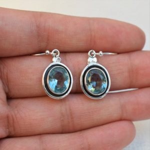 Shop Topaz Earrings! Natural Blue Topaz Earrings-Handmade Silver Earrings-925 Sterling Silver Earrings-Oval Blue Topaz Earrings-Gift for her-Dangle-Drop Earrings   Natural genuine Topaz earrings. Buy crystal jewelry, handmade handcrafted artisan jewelry for women.  Unique handmade gift ideas. #jewelry #beadedearrings #beadedjewelry #gift #shopping #handmadejewelry #fashion #style #product #earrings #affiliate #ad