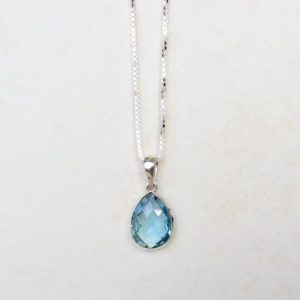 Shop Topaz Pendants! Gemstone Silver Necklace, Blue Topaz Silver Pendant, Teardrop Faceted Gemstone, Gift for Her, Gift for Mum | Natural genuine Topaz pendants. Buy crystal jewelry, handmade handcrafted artisan jewelry for women.  Unique handmade gift ideas. #jewelry #beadedpendants #beadedjewelry #gift #shopping #handmadejewelry #fashion #style #product #pendants #affiliate #ad
