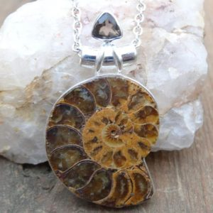"Shop Topaz Pendants! Handmade Sterling Silver Natural Ammonite Pendant Necklace – Sterling Silver 18"" chain – Natural Fossil Necklace Pendant – Smoky Topaz 