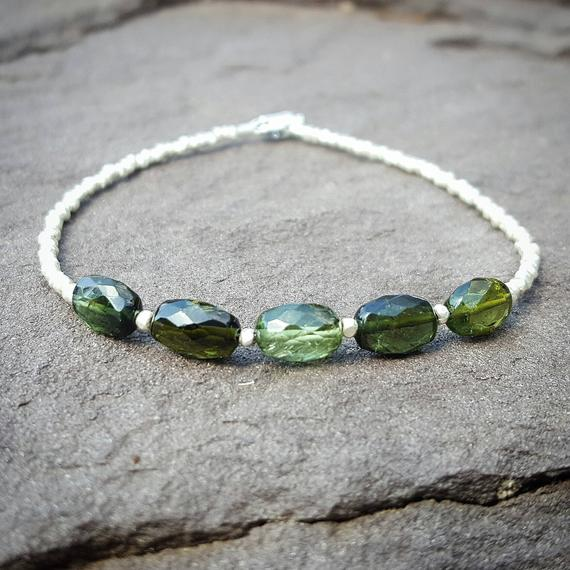 Heart Chakra Bracelet, Green Tourmaline Bracelet, October Birthstone Jewelry, Silver, Beaded Bracelet, Gemstone Chakra Bracelets For Women,