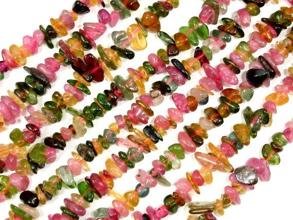 Watermelon Tourmaline Beads, Chips, 4mm - 9mm, 16 Inch, Full Strand, Hole 0.8mm, A Quality (427005004)