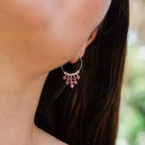 Shop Pink Tourmaline Earrings! Pink Tourmaline statement hoop earrings in bronze, silver, gold or rose gold. Bohemian gemstone beaded thin hoop earrings. Gift for her. | Natural genuine Pink Tourmaline earrings. Buy crystal jewelry, handmade handcrafted artisan jewelry for women.  Unique handmade gift ideas. #jewelry #beadedearrings #beadedjewelry #gift #shopping #handmadejewelry #fashion #style #product #earrings #affiliate #ad