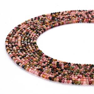 "Shop Tourmaline Faceted Beads! Multi Color Tourmaline Faceted Rondelle Size 2x3mm 3x4mm 15.5"" Strand 