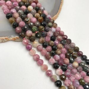 "Shop Tourmaline Beads! Multi Color Tourmaline Faceted Round Beads 5mm 6mm 15.5"" Strand 