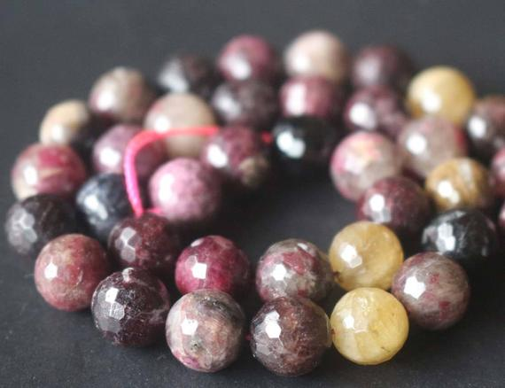 Natural 128 Faceted Tourmaline Beads,6mm/8mm/10mm/12mm Faceted Round Beads Supply,15 Inches One Starand