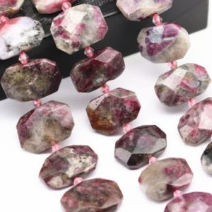 "Eudialyte Rectangle Slice Faceted Octagon Beads 15x20mm 15.5"" Strand 