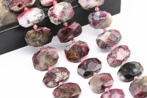 """Eudialyte Rectangle Slice Faceted Octagon Beads 15x20mm 15.5"""" Strand"""