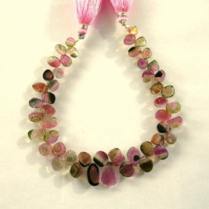 "Shop Tourmaline Bead Shapes! Watermelon tourmaline slice beads AA+ 6-12.5mm 8"" strand 