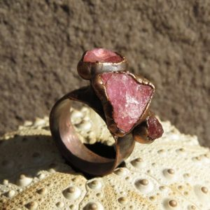 Shop Tourmaline Rings! Pink tourmaline ring | Rough tourmaline copper ring | Raw tourmaline electroformed ring | Natural genuine Tourmaline rings, simple unique handcrafted gemstone rings. #rings #jewelry #shopping #gift #handmade #fashion #style #affiliate #ad