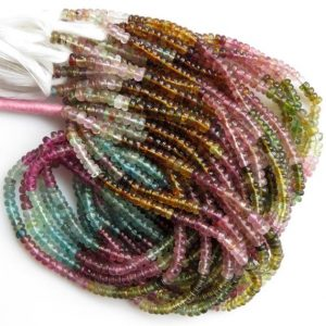 Shop Tourmaline Rondelle Beads! Multi Tourmaline 4mm Smooth Rondelles Beads, Pink Tourmaline Beads, Green Tourmaline Beads, Blue Tourmaline Bead, 14 Inch Strand, Gds1358 | Natural genuine rondelle Tourmaline beads for beading and jewelry making.  #jewelry #beads #beadedjewelry #diyjewelry #jewelrymaking #beadstore #beading #affiliate #ad