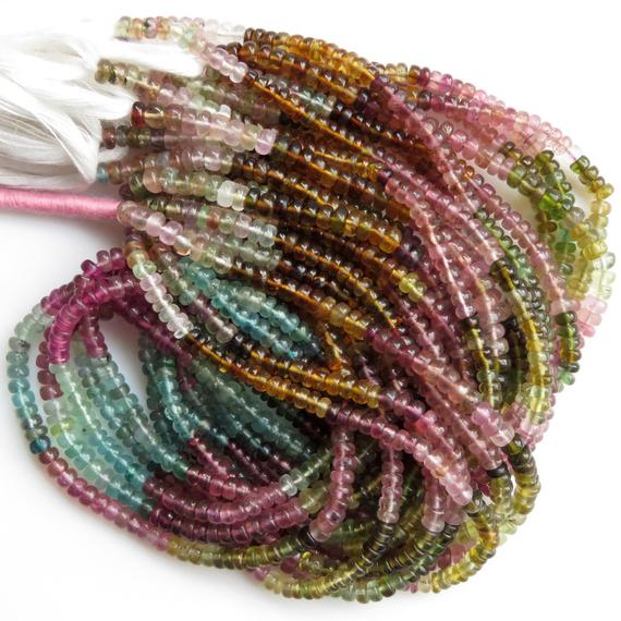 Multi Tourmaline 4mm Smooth Rondelles Beads, Pink Tourmaline Beads, Green Tourmaline Beads, Blue Tourmaline Bead, 14 Inch Strand, Gds1358