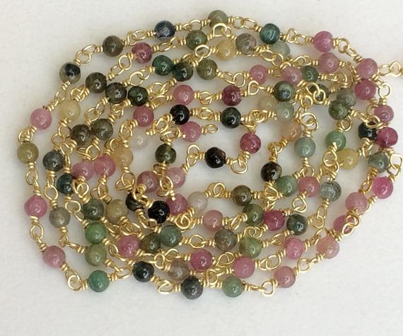 3mm Multi Tourmaline Plain Round Beads Connector Chains In 925 Silver Gold Polish Wire Wrapped Rosary Style Chain By Foot - Ks3361
