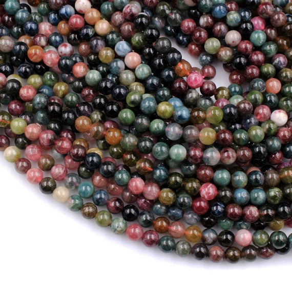 "Natural Multicolor Watermelon Pink Green Tourmaline Round Beads 4mm 6mm 8mm 10mm Colorful Real Genuine Tourmaline Gemstone 15.5"" Strand"