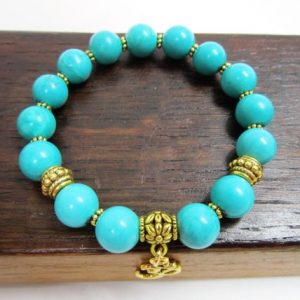 Shop Turquoise Bracelets! Natural Turquoise Bracelet Turquoise Healing Love Bracelet Meditation Yoga Protection Bracelet Chakra Bracelet Turquoise Third Eye Chakra | Natural genuine Turquoise bracelets. Buy crystal jewelry, handmade handcrafted artisan jewelry for women.  Unique handmade gift ideas. #jewelry #beadedbracelets #beadedjewelry #gift #shopping #handmadejewelry #fashion #style #product #bracelets #affiliate #ad