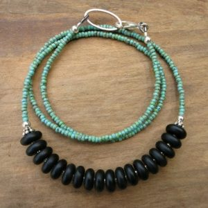 Shop Turquoise Necklaces! Black and Turquoise Necklace, rustic Western style black stone necklace with Turquoise seed beads and silver accents | Natural genuine Turquoise necklaces. Buy crystal jewelry, handmade handcrafted artisan jewelry for women.  Unique handmade gift ideas. #jewelry #beadednecklaces #beadedjewelry #gift #shopping #handmadejewelry #fashion #style #product #necklaces #affiliate #ad
