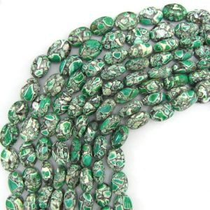 "14mm green mosaic flower turquoise flat oval beads 16"" strand 13334 