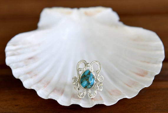 Blue Copper Turquoise Ring - Size: 7.5