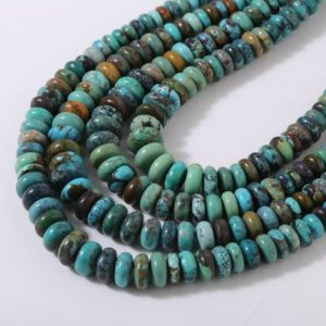 Shop Rondelle Gemstone Beads! Turquoise Beads Mexican Turquoise Plain Rondelles AAA Quality Natural turquoise beads Rare Mexican Aqua Blue and Green Turquoise Rondelle | Natural genuine rondelle Gemstone beads for beading and jewelry making.  #jewelry #beads #beadedjewelry #diyjewelry #jewelrymaking #beadstore #beading #affiliate #ad