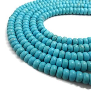 "Shop Turquoise Rondelle Beads! Blue Turquoise Smooth Rondelle Beads 3x4mm 4x6mm 5x8mm 15.5"" Strand 