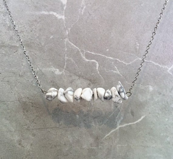 White Howlite Crystal Chip Necklace- Bar Necklace- Raw Howlite Necklace- Crystal Jewelry- White Howlite Chip Beads- Gifts For Her