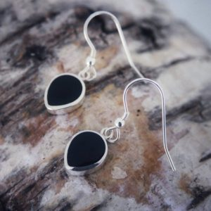 Shop Jet Earrings! Whity Jet Earrings Handmade Silver Drop Earrings Set With Whitby Jet | Natural genuine Jet earrings. Buy crystal jewelry, handmade handcrafted artisan jewelry for women.  Unique handmade gift ideas. #jewelry #beadedearrings #beadedjewelry #gift #shopping #handmadejewelry #fashion #style #product #earrings #affiliate #ad