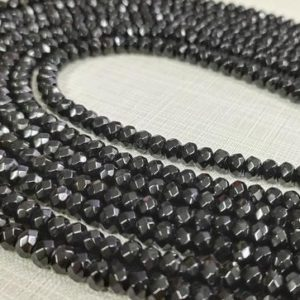 Shop Onyx Rondelle Beads! 1 Full Strand 4x6mm Black Onyx Rondelle Beads ,Faceted Rondelle Loose Beads, Gemstone Beads ,Black Agate Beads Supply , BA-225 | Natural genuine rondelle Onyx beads for beading and jewelry making.  #jewelry #beads #beadedjewelry #diyjewelry #jewelrymaking #beadstore #beading #affiliate #ad