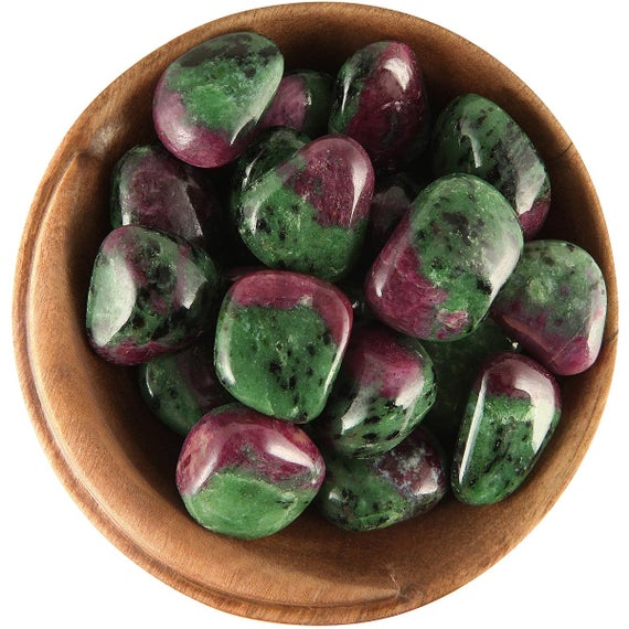 """1 Ruby Zoisite """"gemmy"""" - Ethically Sourced Tumbled Stone"""